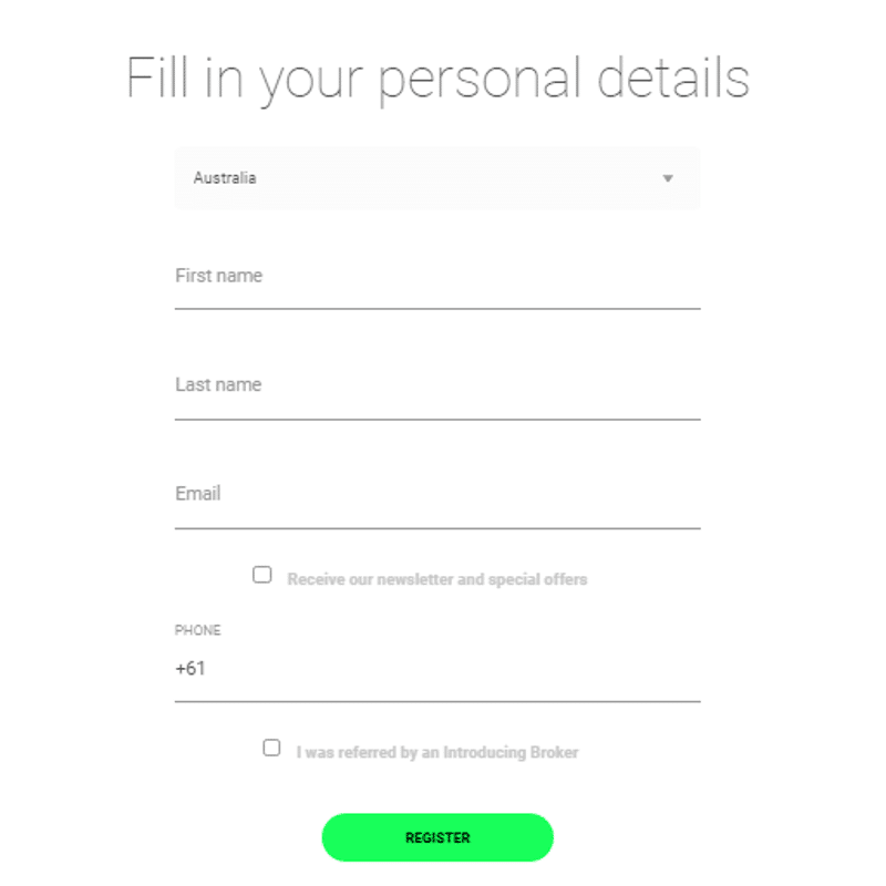 icmarkets enter personal details