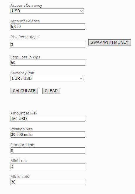 position size calculator screenshot